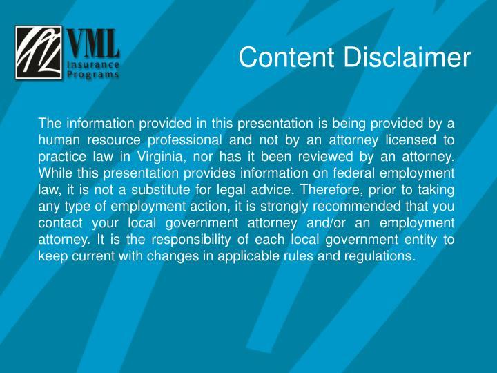 Content Disclaimer