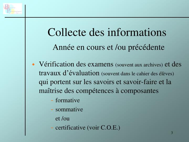 Collecte des informations