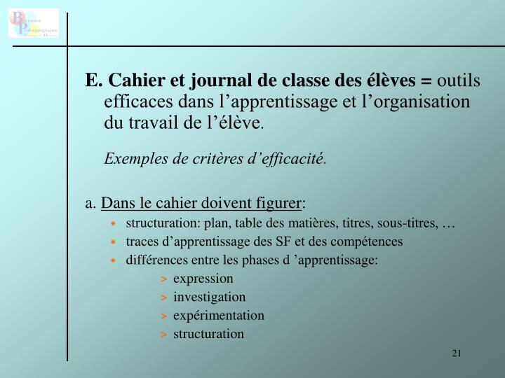 E. Cahier et journal de classe des élèves =