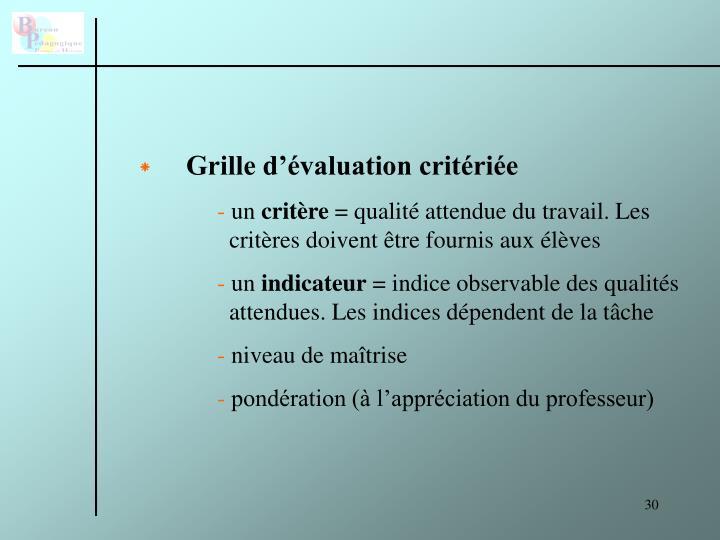 Grille d'évaluation critériée