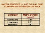 matrix densities m of typical pure components of reservoir rock