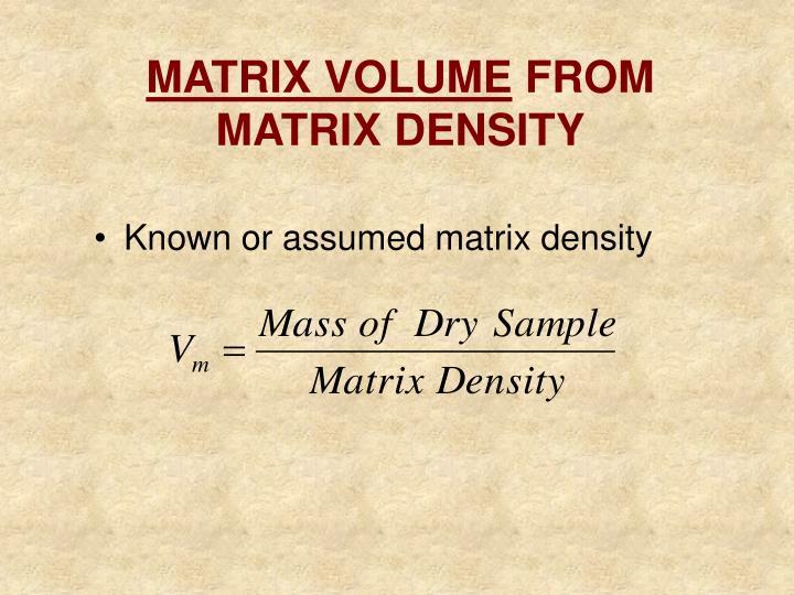 MATRIX VOLUME