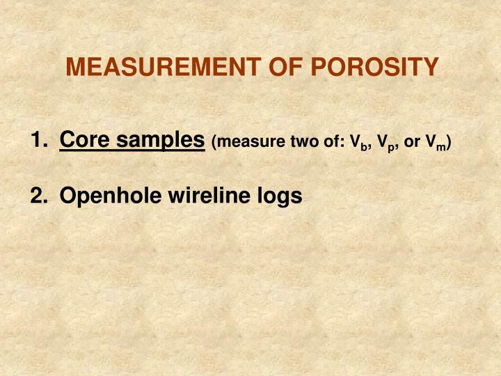 MEASUREMENT OF POROSITY