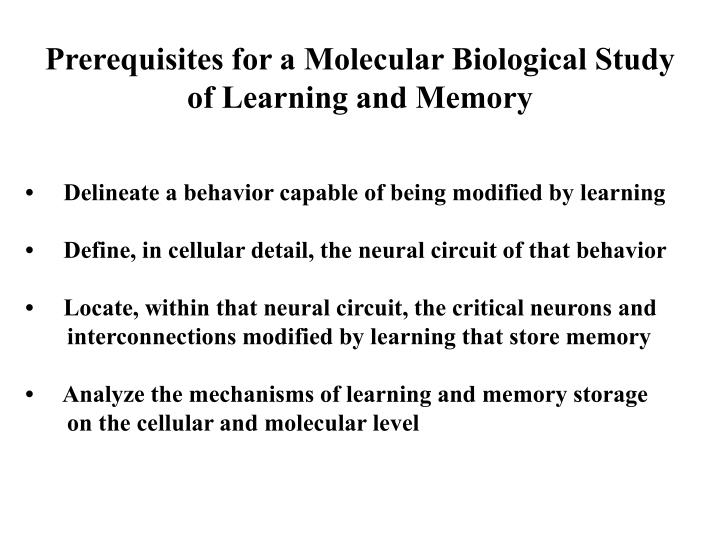 Prerequisites for a Molecular Biological Study
