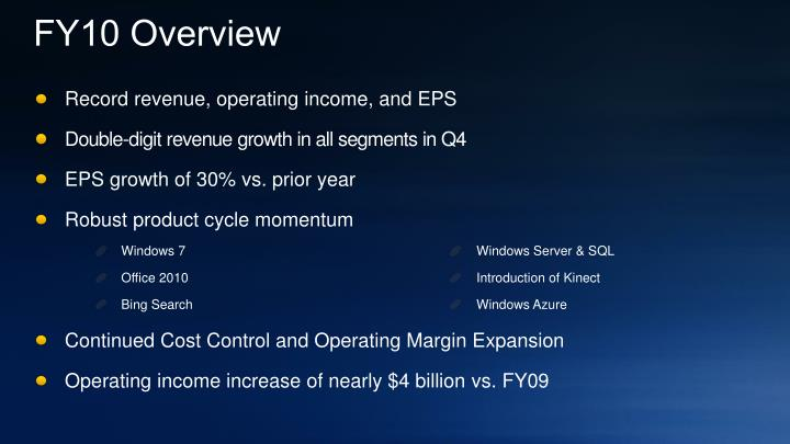 FY10 Overview