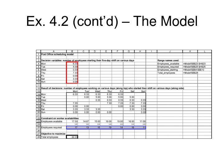 Ex. 4.2 (cont'd) – The Model