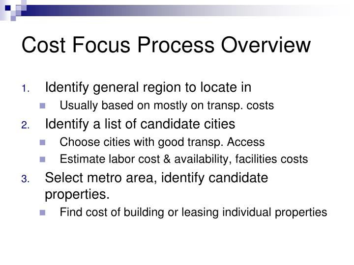 Cost Focus Process Overview