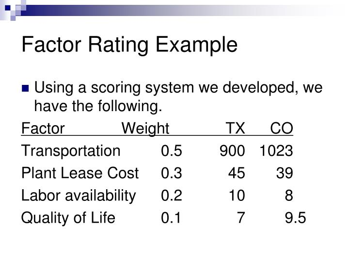Factor Rating Example