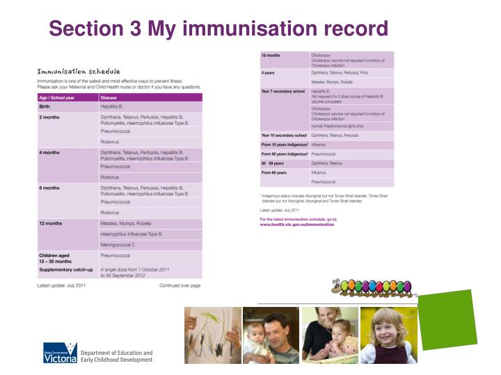 Section 3 My immunisation record