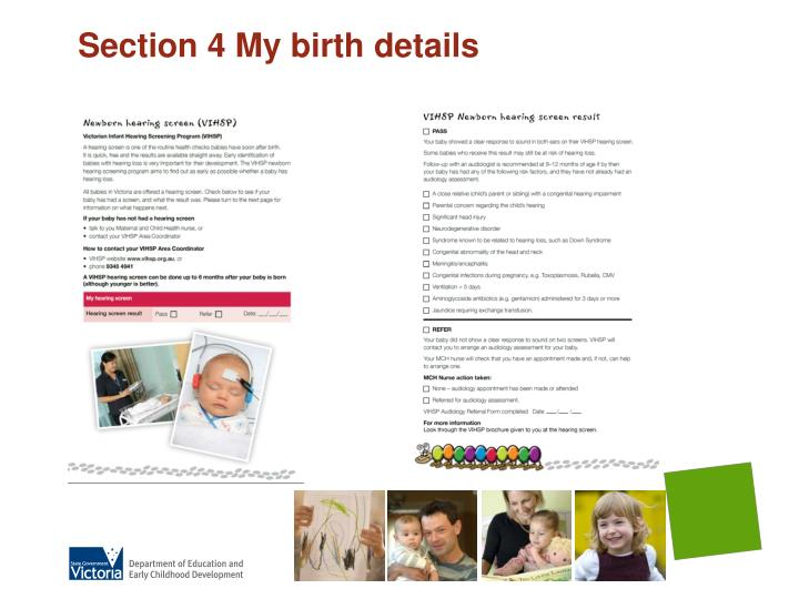 Section 4 My birth details