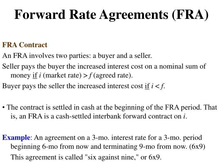 Forward Rate Agreements (FRA)
