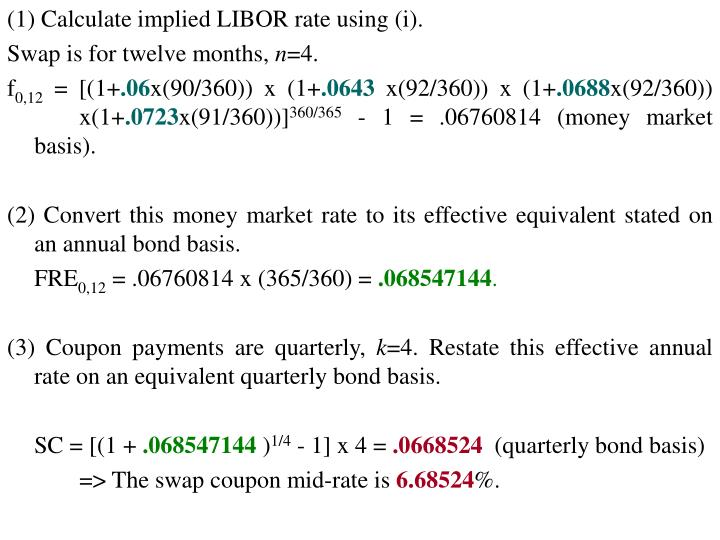 (1) Calculate implied LIBOR rate using (i).