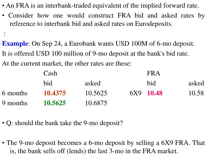 • An FRA is an interbank-traded equivalent of the implied forward rate.