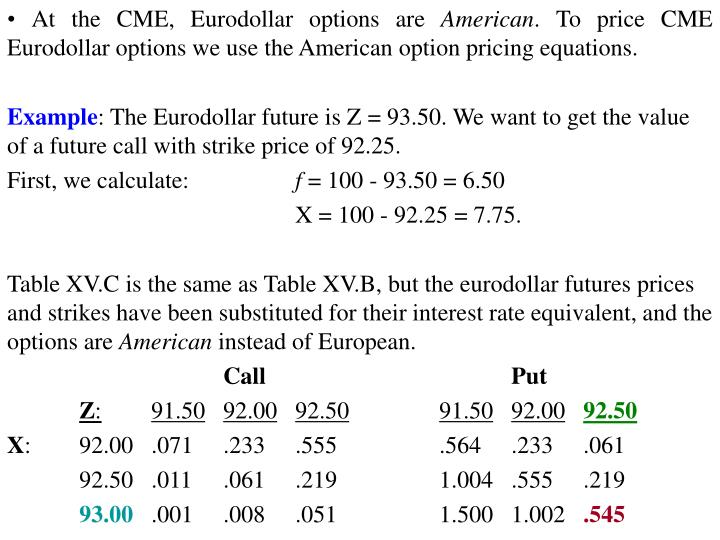 • At the CME, Eurodollar options are