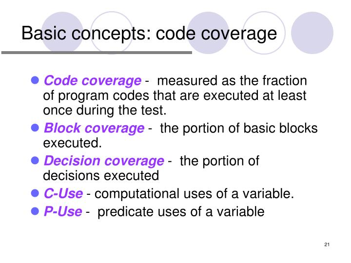 Basic concepts: code coverage