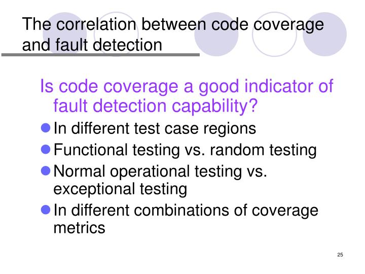 The correlation between code coverage and fault detection