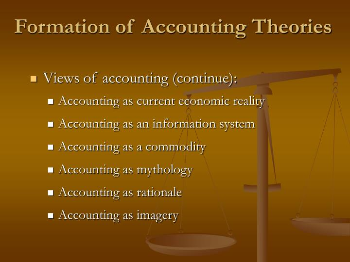 Formation of Accounting Theories