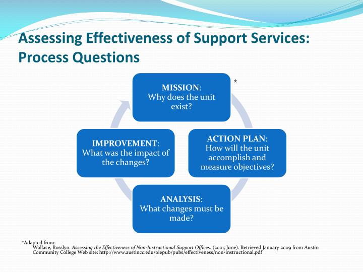 Assessing Effectiveness of Support Services: