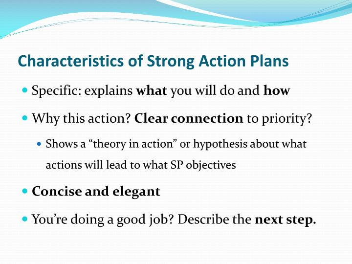 Characteristics of Strong Action Plans