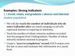 examples strong indicators 2 1 enroll retain and graduate a diverse and talented student population