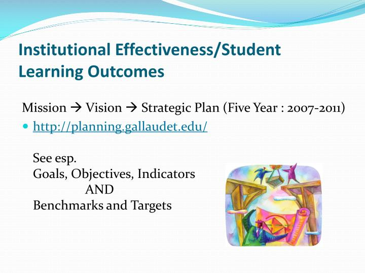 Institutional Effectiveness/Student Learning Outcomes