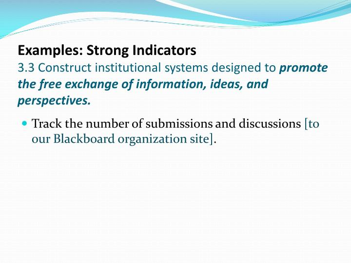 Examples: Strong Indicators