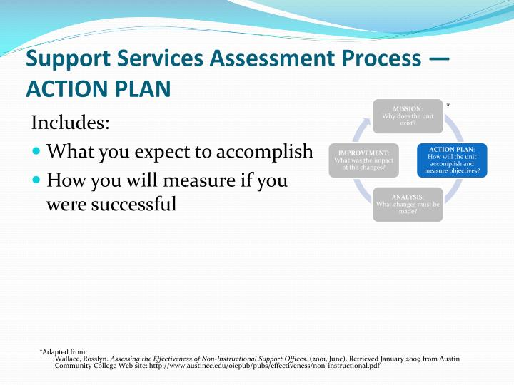 Support Services Assessment Process —ACTION PLAN