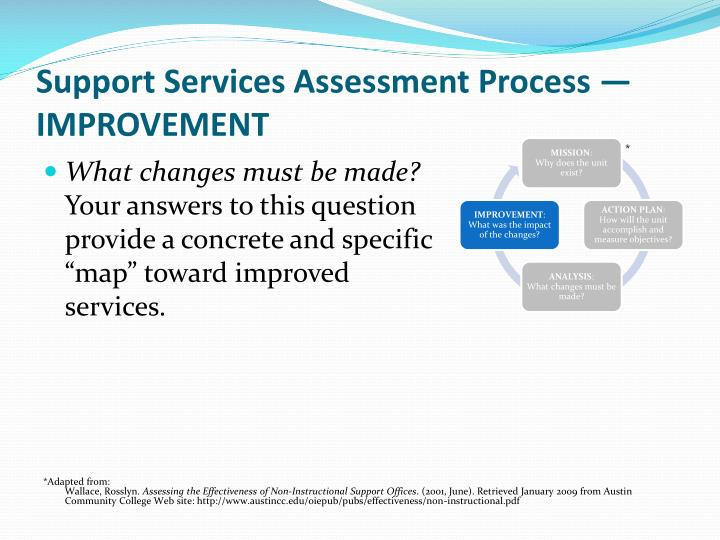 Support Services Assessment Process — IMPROVEMENT