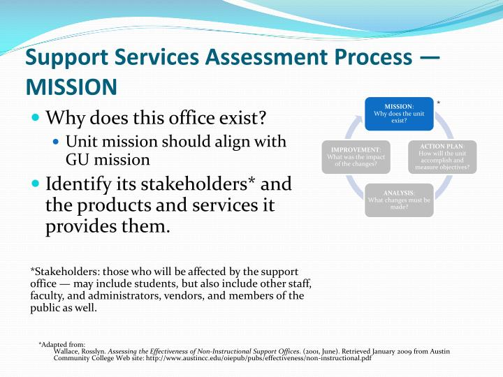 Support Services Assessment Process —MISSION