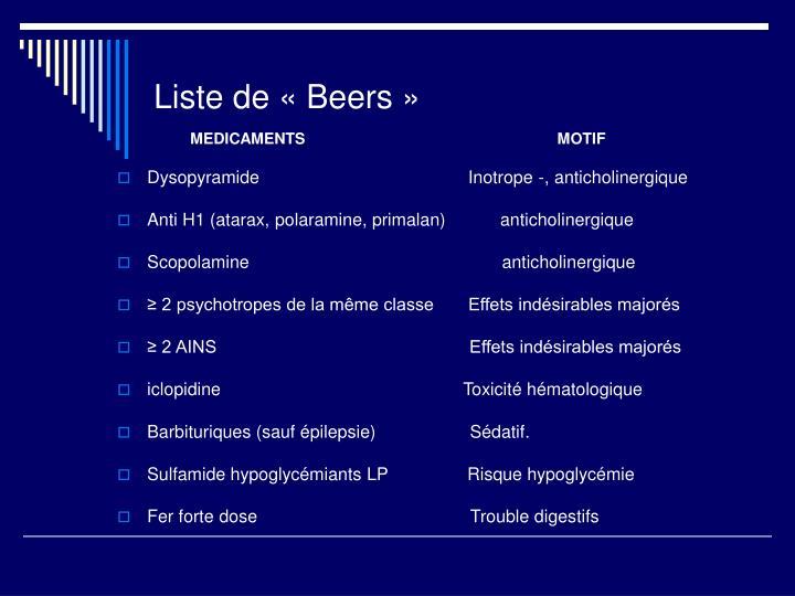 Liste de « Beers »