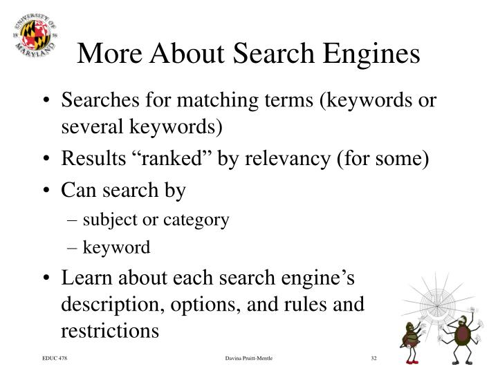 More About Search Engines