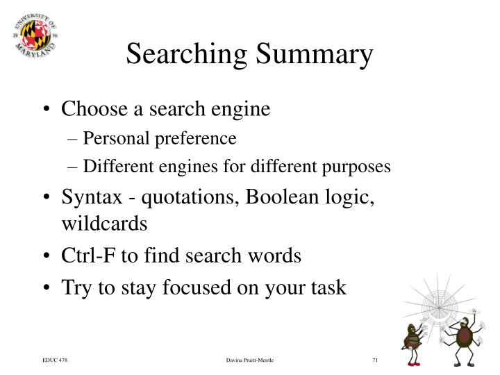 Searching Summary