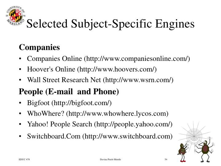 Selected Subject-Specific Engines