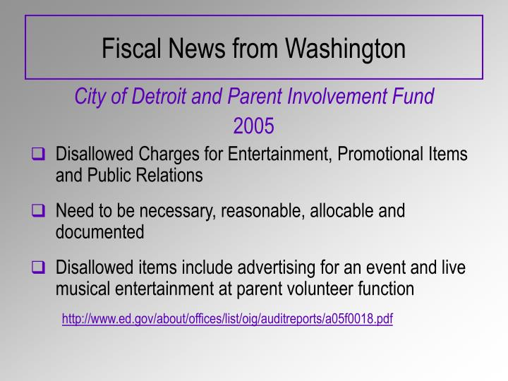 Fiscal News from Washington