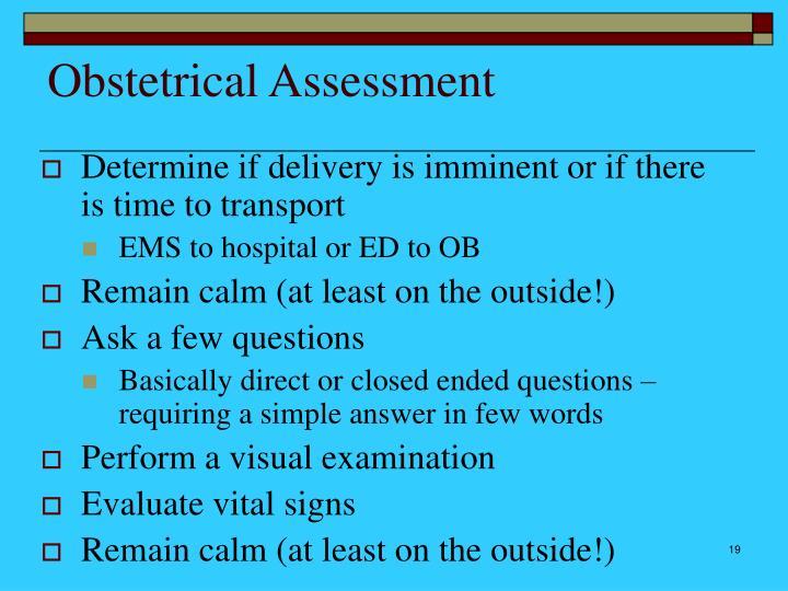 Obstetrical Assessment
