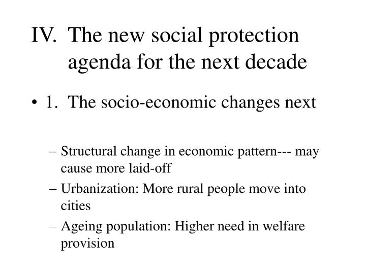 IV. 	The new social protection 	agenda for the next decade