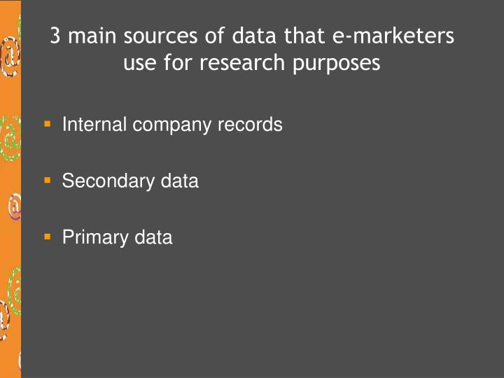 3 main sources of data that e-marketers use for research purposes