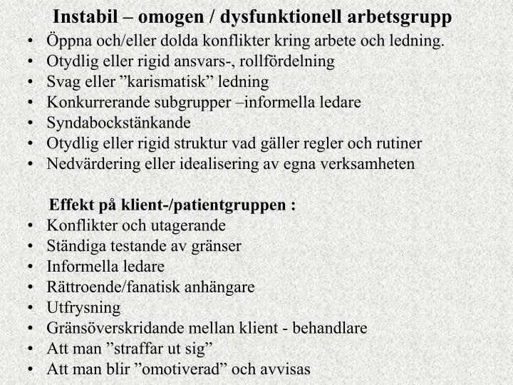 Instabil – omogen / dysfunktionell arbetsgrupp