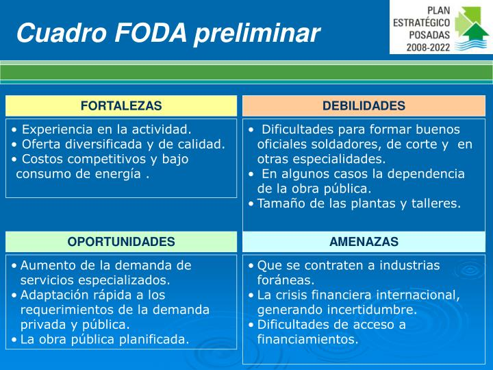 Cuadro FODA preliminar