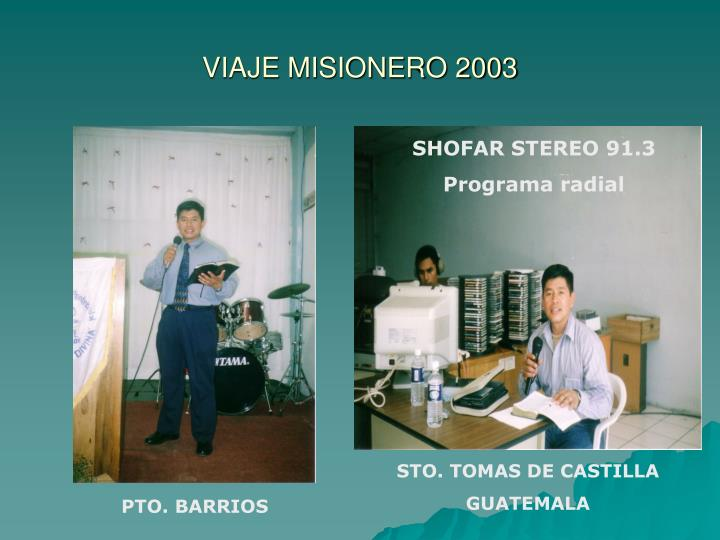 VIAJE MISIONERO 2003