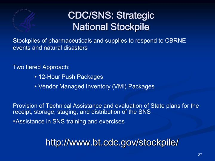 CDC/SNS: Strategic
