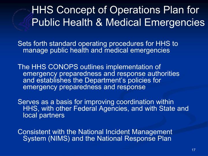 HHS Concept of Operations Plan for Public Health & Medical Emergencies