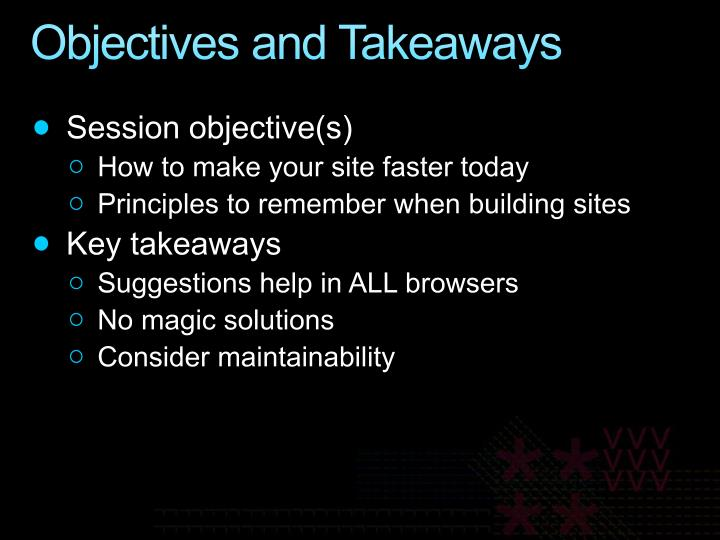 Objectives and Takeaways