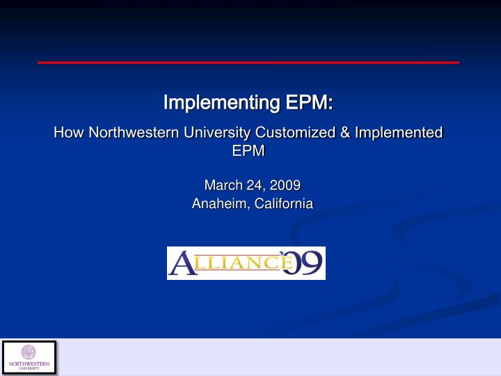 Implementing EPM:
