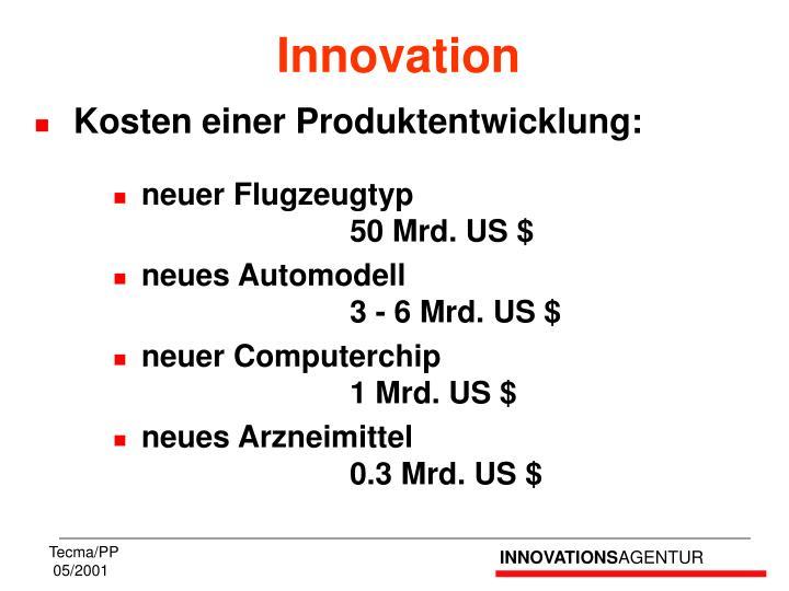 Kosten einer Produktentwicklung: