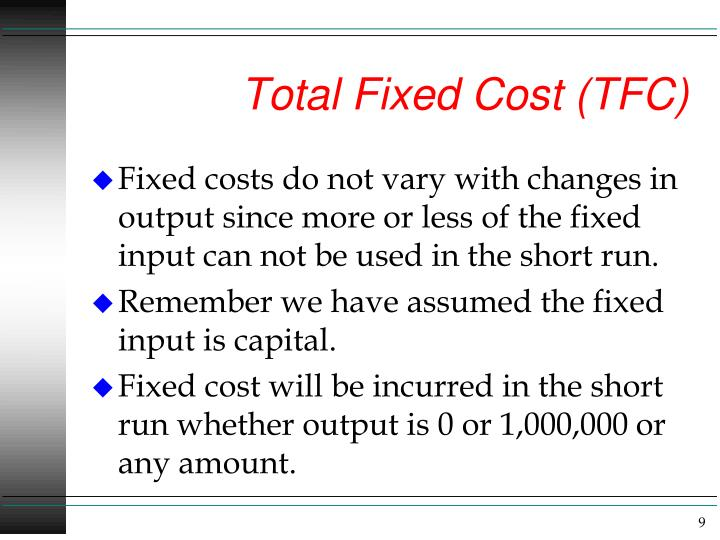 Total Fixed Cost (TFC)
