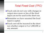 total fixed cost tfc