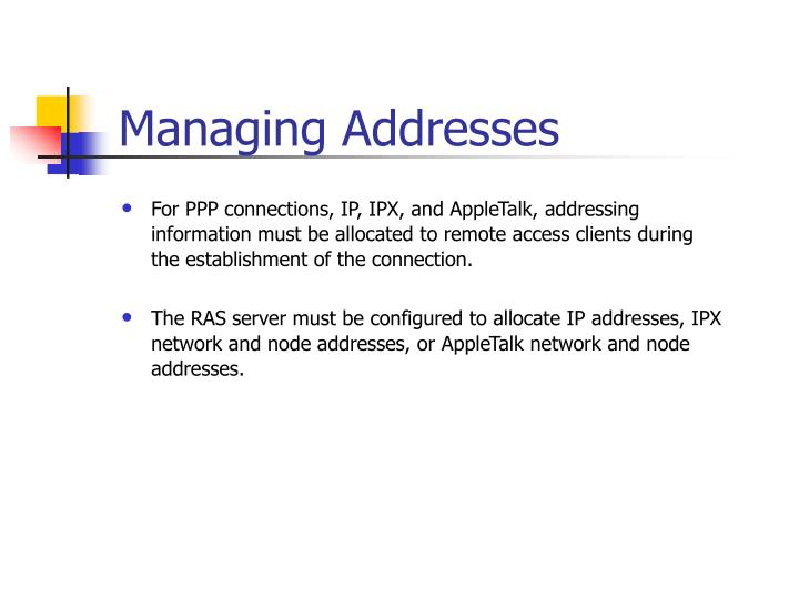 Managing Addresses