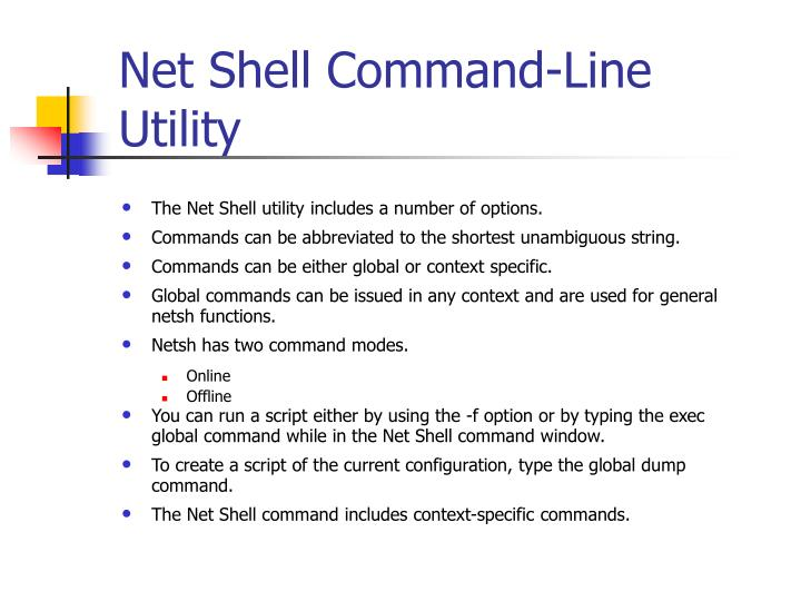 Net Shell Command-Line Utility