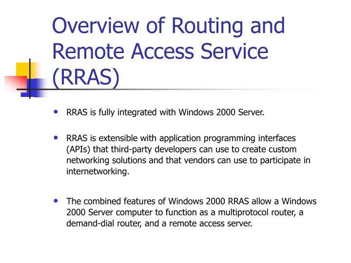 Overview of routing and remote access service rras